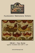 Two Birds  punch needle pattern 152 designed by Teresa Kogut