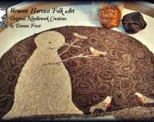 Robins In Winter punchneedle pattern designer Vermont Harvest Folk Art