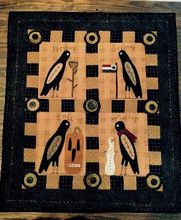 Curious Crows wall quilt from Peculiar Primitives book by Robin Vizzone