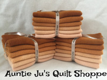 """Hand-dyed wool bundle configuration for Auntie Ju's called~~VALUES - (6) 6"""" X 16"""" in gradations of persimmon"""