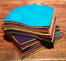 """Multi Brights charm packs - 10 5"""" solid wool squares"""