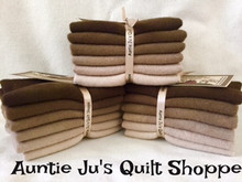 """Hand-dyed wool bundle configuration for Auntie Ju's called~~VALUES - (6) 6"""" X 16"""" in gradations of chocolate fudge"""