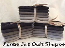 """Hand-dyed wool bundle configuration for Auntie Ju's called~~VALUES - (6) 6"""" X 16"""" in gradations of charcoal"""