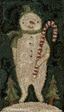 Candy Cane Snowman punchneedle pattern designer Teresa Kogut