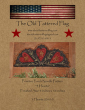 3 Hearts punchneedle design Old Tattered Flag