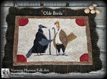 Olde,Birds,Vermont,Harvest,Folk,Art,punchneedle