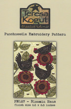 Bloomin,Hens,punch,needle,pattern,designer,Teresa,Kogut