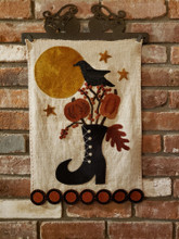 By,Light,Moon,pattern,Sew,Cherished,designer,Auntie,Jus,Quilt,Shoppe,kit,halloween,wallhanging,wool,appliqué