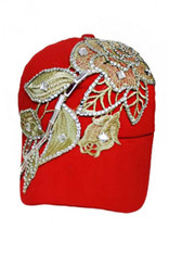Rose Crystal Accent & Gold Design Cap