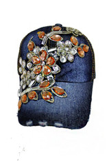 Floral Crystal Accent & Gold Cap