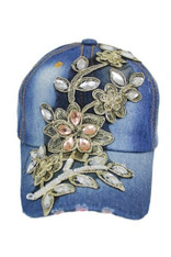 Floral Crystal Accent & Gold Cap - Denim Blue