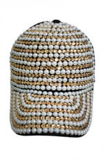 Faux Pearl and Gold Bing Bling Studs Denim Washing Cap