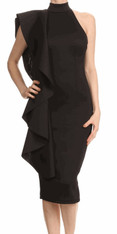Black Bodycon Dress with Ruffles