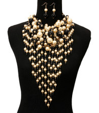 Black and Cream Chunky Pearl Layered Necklace Set