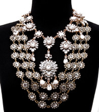 Gold and Clear Crystal Tiered Necklace