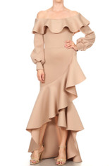 Nude Bodycon Long Dress with Ruffles