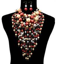 Black , Red and Cream Chunky Pearl Layered Necklace Set