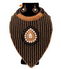 Black & Gold Beaded Necklace Bib Set