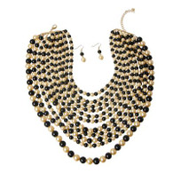 Black and Cream Layered Pearl Necklace Set