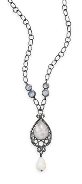 Rainbow moonstone necklace.