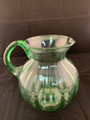 VTG PIER 1 HANDBLOWN GREEN GLASS MELON SHAPED PITCHER