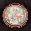 1987 CHINESE IMPERIAL FRAMED JINGDEZHEN GREEN PORCELAIN COLLECTOR PLATE