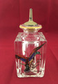 ANTIQUE HEAVY HAND PAINTED MALLARD BLOWN GLASS BARBER'S BOTTLE WITH SHAKER TOP