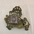 ANTIQUE VICTORIAN BRASS AND GLASS INK WELL