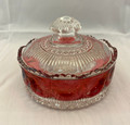 ANTIQUE EARLY AMERICAN PATTERNED GLASS MANHATTAN RUBY STAINED POWDER DISH
