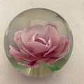 VINTAGE LILLIAN VERNON PINK CARNATION GLASS PAPERWEIGHT