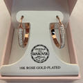NEW 18K ROSE GOLD PLATED SWAROVSKI CRYSTAL HOOP EARRINGS