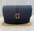 VINTAGE INGE CHRISTOPHER BLUE DOUBLE SNAP-CLOSE EVENING BAG WITH GOLD TONE CHAIN