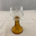 1960s-1970s AMBER RIBBED STEMMED FRENCH ROEMER LUMINARC WINE OR CORDIAL GLASS ROEMER