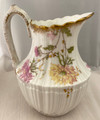 1855-1890 MARTIAL REDON LIMOGES FLORAL PITCHER