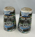VINTAGE THRIFCO CERAMIC FAMOUS SITES OF DENVER, COLORADO SALT AND PEPPER SHAKERS