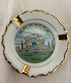 1964-1965 NEW YORK WORLD'S FAIR UNISPHERE SMALL PAINTED DISH WITH GOLD TONED ACCENTS AND STATUE
