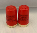 VINTAGE HOBSTETTER INSURANCE AGENCY POMEROY, OHIO RED SALT AND PEPPER SHAKERS