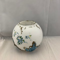 ANTIQUE 1890s VICTORIAN ERA DITHRIDGE & CO. RAY END FLEUR DE LIS #19 BUD FLOWER GLOBE/ORB MILK/OPALINE GLASS HAND-PAINTED ROUND VASE