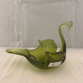 VINTAGE 1950S-1960S OLIVE GREEN BLOWN SWAN DISH ART GLASS FOR CANDY, POTPOURRI TRINKET, SOAP, ETC.
