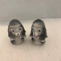 VINTAGE MID 20TH CENTURY GRAY CERAMIC POODLE SALT AND PEPPER SHAKERS