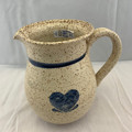 VINTAGE COUNTRY ELM BLUE HEART STONEWARE PITCHER