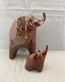 NEW! 2-PIECE BROWN CERAMIC ELEPHANT STATUES