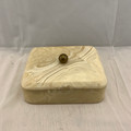 VINTAGE/ANTIQUE PLASTIC (POSSIBLY BAKELITE) JEWELRY OR TRINKET BOX WITH BRASS KNOB