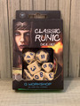 NEW IN BOX ©2019 Q WORKSHOP CLASSIC RUNIC BEIGE AND BLUE DICE SET OF 7