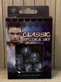 NEW IN BOX ©2016 Q WORKSHOP CLASSIC RPG COBALT AND WHITE DICE SET OF 7