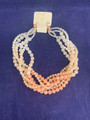 NEW! NEVER WORN CHARMING CHARLIE PINK AND WHITE BEADED NECKLACE AND EARRING SET