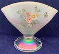 VINTAGE FENTON OPALESCENT GLASS FAN VASE WITH HAND PAINTED FLOWERS MADE IN USA