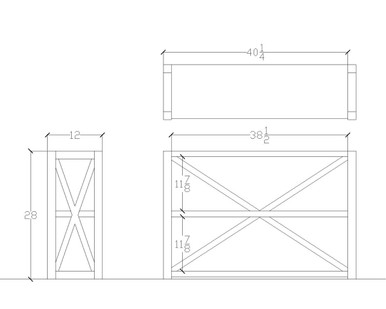 AutoCad Shop drawing of Small X Motif Etagere