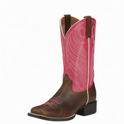 Ariat Women's Performance Round Up Wide Square Toe Hot Pink - 10016319
