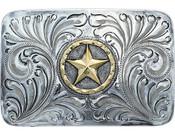 Bar V Western Mens Belt Buckle Marshall Antique Disc Silver - 380-026